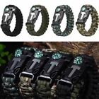 Outdoor Survival Paracord Bracelet Flint Fire Starter Scrapper Whistle Gear Use