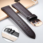 OPK Mens Womens Genuine Leather Steel Buckle Black Brown Watch Strap Band 20mm