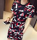 Men Floral T Shirt  Top Casual Summer Short Pants Trousers Suit Set D6006