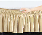 "Taupe Solid Elastic Ruffled Wrap Around Bed Skirt Easy Fit 16"" Length (Drop) image"