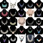 Luxury Women Flowers Pendant Crystal Choker Chunky Statement Chain Bib Necklace