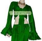 Green TMS Satin Ruffle Wrap Top Tie Belly Dance Choli Gypsy Tribal 30 Color