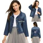 Women Casual Turn Down Collar 3/4 Sleeve Embroidery Denim Jean Coat S0BZ