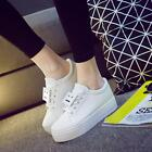 New women's leather lace with thick bottom sports shoes wild casual running shoe