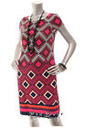 NEW JESSICA HOWARD Woman  Round Neck Sheath Cap Sleeve Dress Pink Blue   L