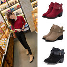 2015 New Fashion Womens  Buckle Strap Faux Suese Boots Ladies Block Chunky Shoes