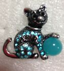 Elegant 6 Color Variation in Crystals and Enamel Cat & Ball Ring Size 6 1/2 - 7