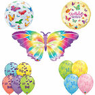 Butterfly Printed Latex & Shaped Foil Qualatex Balloons - Birthday (Helium/Air)