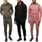 Mens Hooded Sports New Distressed Fleece Ripped Full Set Top Bottom Tracksuits