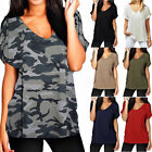 Plus size S-5XL Women Short Sleeve Summer Top V Neck T Shirt Loose Casual Blouse