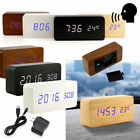 Classical Modern Wooden USB/AAA Digital LED Alarm Clock Calendar Thermometer