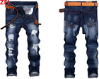 Men's Classic Skinny Ripped Jeans Straight Leg Slim Casual Denim Pants Trousers