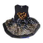 Halloween Black Brown Leopard Heart Party Dress Small Pet Dog Clothes