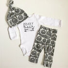 3PCS Newborn Baby Boys Girls Long Sleeve Romper + Pants Outfits Clothes Set US