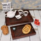 Wooden Serving Trays Lattice Style Base Sheesham Solid Brown Wood 2 Sizes
