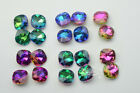 100 pcs 12mm x 12mm Rainbow Color Multi Faceted Glass Thick Square Nail Art