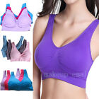 Womens Seamless Sports  Push Up Bra Crop Top Vest Comfort Stretch Workout Bras