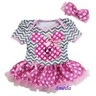Baby Easter Bunny Gray Chevron Pink Polka Dots Bodysuit Tutu Dress Jumpsuit 0-18