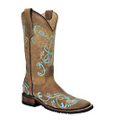 Circle G By Corral Ladies Dragon Fly Square Toe Cowboy Boots Tan Turquoise L5229
