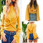 Women Ladies Autumn Casual Flare O Neck Long Sleeve Solid Shirt Tee Tops Blouses