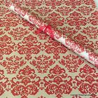 Red Baroque Christmas Patterned Kraft Brown Wrapping Paper 5 or 10 metres