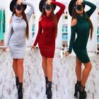 Women Turtleneck Long Sleeve Knitted Bodycon Party Bandage Cocktail Mini Dress