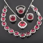 FAHOYO Square Red Ruby 925 Sterling Silver Women Jewelry Sets QS0129