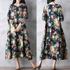 UK Boho Womens Holiday 3/4 Sleeve Floral Maxi Ladies Beach Party Dress 8-20 Plus