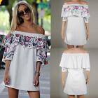 New Fashion Women Casual Slash Neck Off the Shoulder 3/4 Sleeve Print B20E