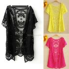 Womens Hollow-Out Retro Blouse Shirt Lace Embroidery Floral Crochet Cardigan B20