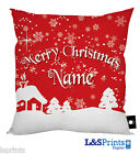 PERSONALISED CHRISTMAS GIFT SNOW SCENE DESIGN CUSHION XMAS HOME DECORATION