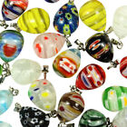 1-250 Pcs Mixed Colour Millefiori Glass Tear Drop Charms Pendants 13x18mm