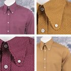 Art Gallery 60's Retro Mod Button Down Round Collar Pindot LS Shirt