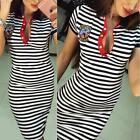 Women Summer Striped Bodycon Slim Short Sleeve Evening Party Mini Dress Jumper