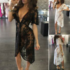 Summer Women See Through V-Neck Short Sleeve Cover Up Party Beach Dress Sexy