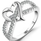 Size 4-12 925 Sterling Silver Ring Wedding Engagement Heart Split Shank Cocktail
