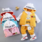 3PCS Baby Boys Girls Bear Clothing Set Long Sleeve Shirt+ Pants+ Vest Hoodie