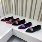 Womens Rhinestones Pointed Toe Flat Heel Slip On Loafers Casual Shoes