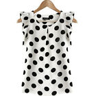 Women Ladies Casual Wave Point Chiffon Round Neck Short Sleeve Shirt Clothes
