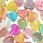 50 Mixed Colour Heart Shell Charm Beads 11mm - Choose From 9 Colours