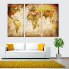 3PCS World Map Home Wall Decor Art Canvas Room Painting Picture Print Frameless