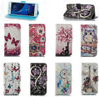 Fashion 3D Beautiful Magnetic Leather Stand Card Wallet Flip Case For Samsung &