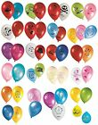 8 LATEX PARTY BALLOONS - LICENSED CHARACTER DESIGNS Range (Birthday Decorations)