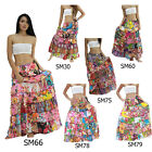 Skirt SM Patchwork Cotton Floral Tiered Long Boho Gypsy Hippy Broomstick Women