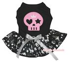 Halloween Black Top Silver Pumpkin Pink Skull Tutu Pet Dog Dress Puppy Clothes