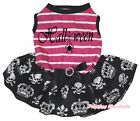 Halloween Spider Pink Striped Top Skull Crown Tutu Pet Dog Dress Puppy Clothes