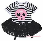 Pink Skull Halloween Striped Top Black Rose Tutu Pet Dog Dress Puppy Clothes Bow