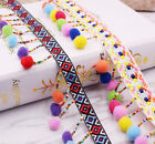 2 Yard Colorful Handmade Beaded Pom Pom Ball lace Necklace Clothing Accessories