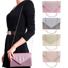 NEW WOMEN'S ENVELOPE DAZZLING SPARKLING CHAIN STRAP PARTY CLUTCH BAG PURSE UK