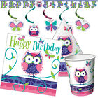 OWL PAL Birthday Party Range - Pink Purple Girl Tableware Balloons & Decorations